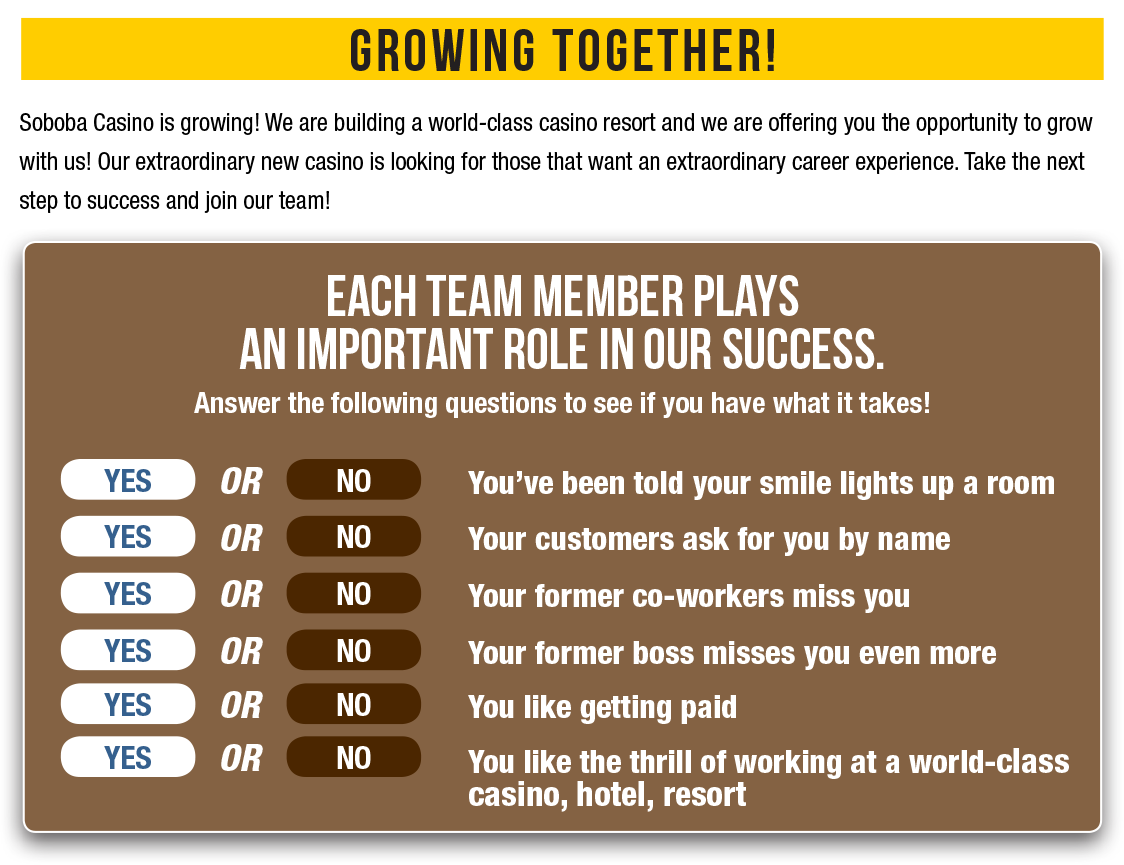 Growing Together! Each Team Member Plays an Important Role in Our Success